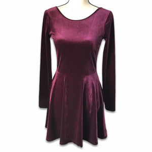 Bethany Mota burgundy stretch velvet A-line dress